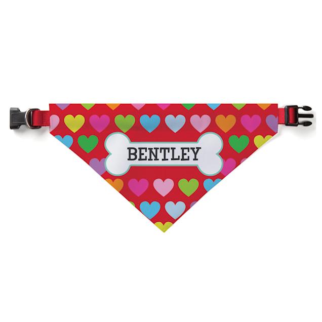 Custom Personalization Solutions Personalized Rainbow Hearts Dog Bandana Collar Cover - Carousel image #1