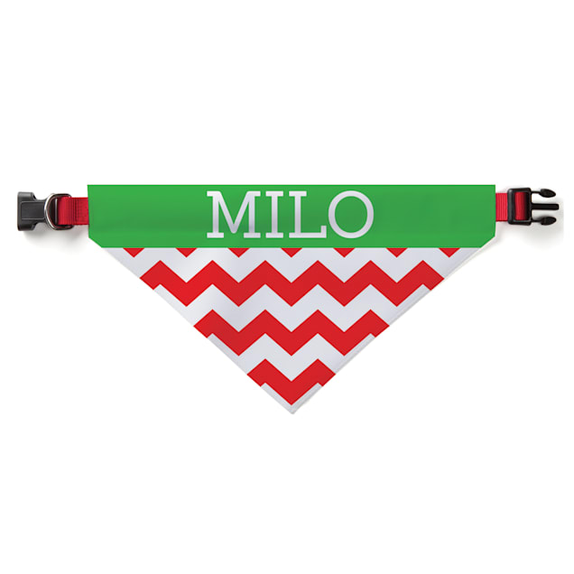 Custom Personalization Solutions Christmas Chevron Personalized Pet Bandana Collar Cover - Carousel image #1