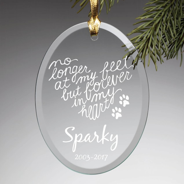 Custom Personalization Solutions Forever In My Heart Personalized Glass Dog Ornament - Carousel image #1