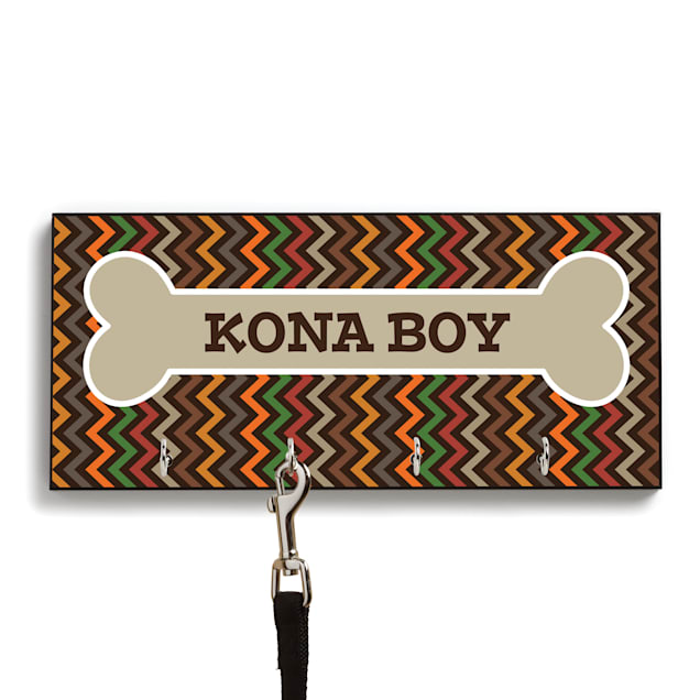Custom Personalization Solutions Personalized Chevron Leash Hanger Brown - Carousel image #1