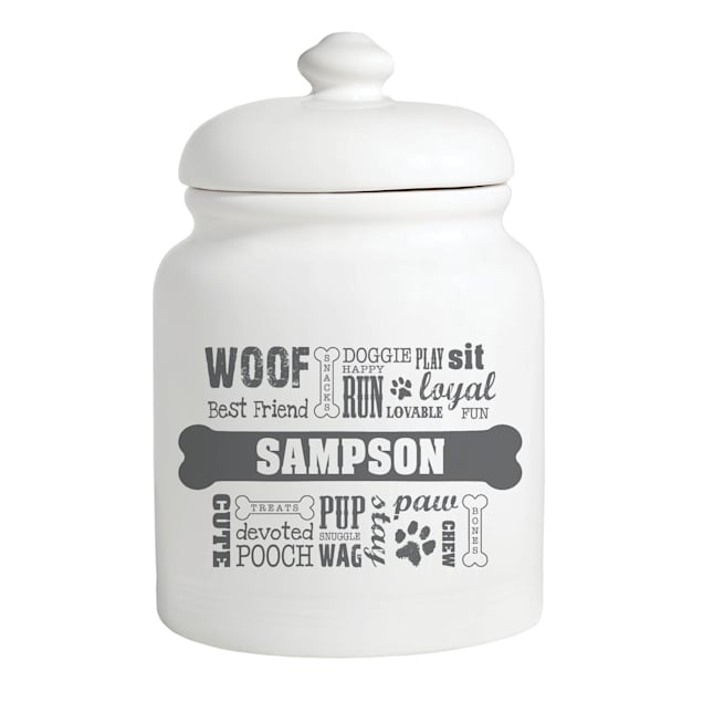 Custom Personalization Solutions Personalized Dog Words Treat Jar Gray - Carousel image #1
