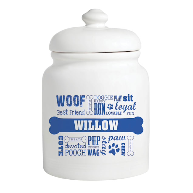 Custom Personalization Solutions Personalized Dog Words Treat Jar Blue - Carousel image #1