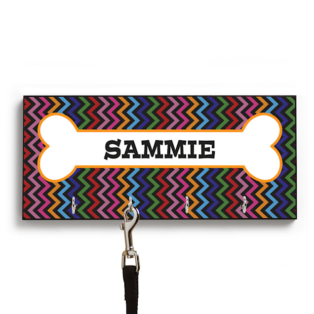 Custom Personalization Solutions Personalized Black Chevron Leash Hanger - Carousel image #1