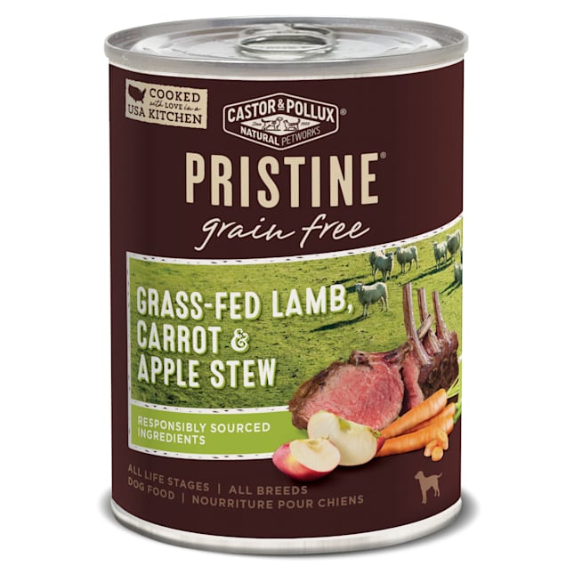 Castor & Pollux Pristine Grain Free Grass-Fed Lamb, Carrot & Apple Stew Wet Dog Food, 12.7 oz., Case of 12 - Carousel image #1