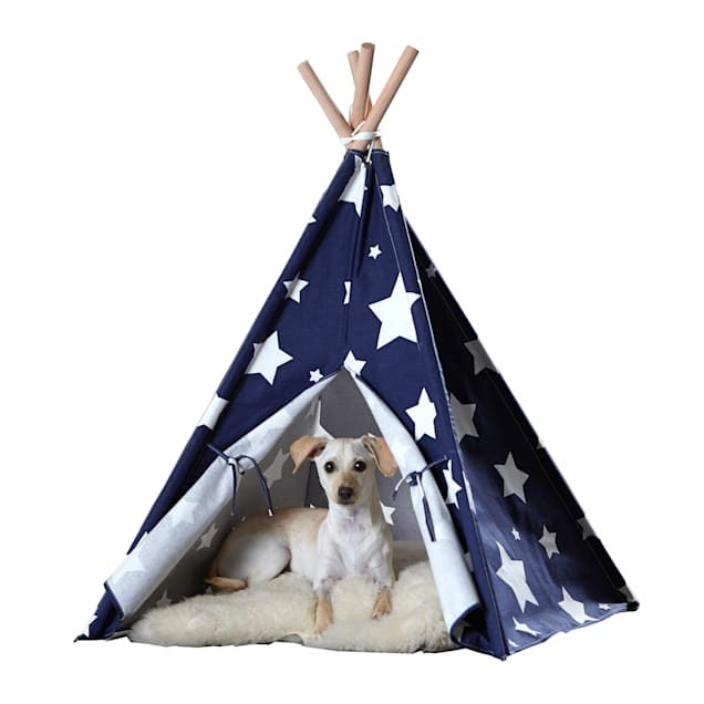 """Zoovilla Pet Teepee Blue with White Stars, 39.96""""L X 39.96""""W - Carousel image #1"""