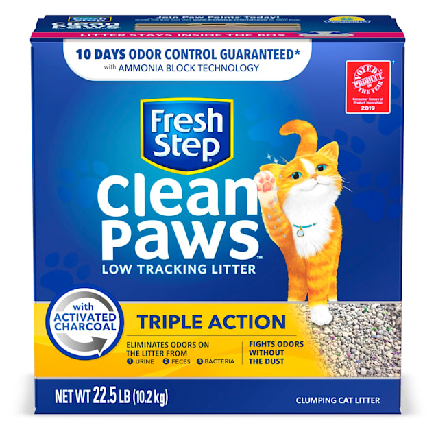 Fresh Step Clean Paws Triple Action Scented Clumping Cat Litter, 22.5 lbs. - Carousel image #1