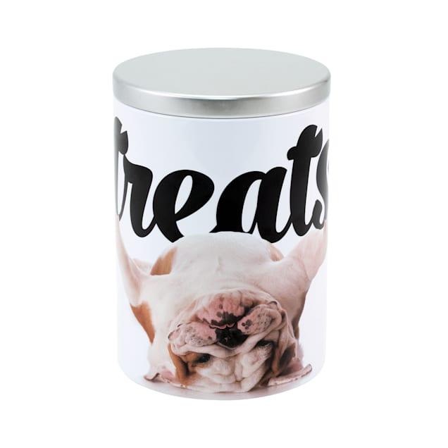 Paw Prints Tin Treat Container Bulldog, Large - Carousel image #1