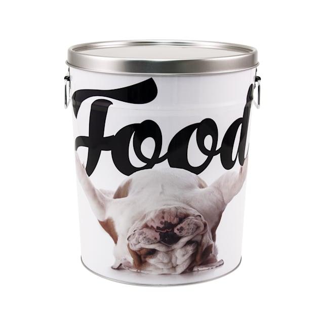 Paw Prints Tin Food Bin Bulldog, 15 lbs. Capacity, Small - Carousel image #1