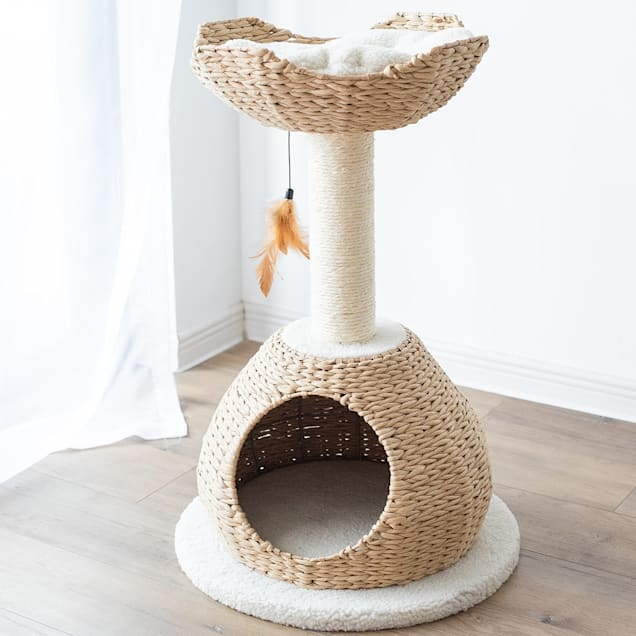 "PetPals Group WalkUp Natural Color Cat House With Condo & Perch, 19"" L X 19"" W X 30"" H - Carousel image #1"