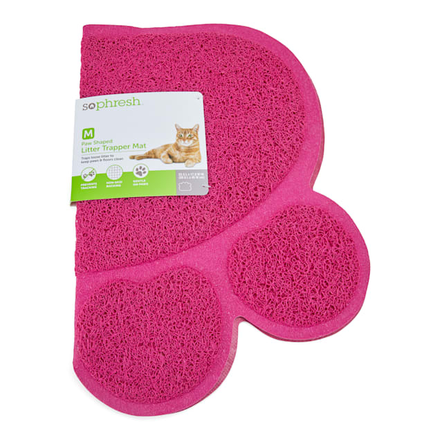 """So Phresh Mulberry Paw-Shaped Cat Litter Trapper Mat, 23.5"""" L X 14"""" W - Carousel image #1"""