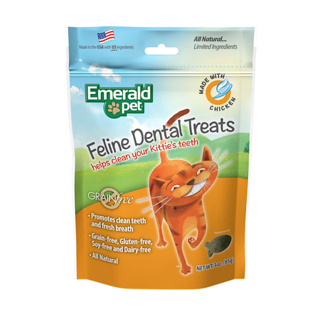 Emerald Pet Feline Dental Treat Chicken for Cats, 3 oz. - Carousel image #1