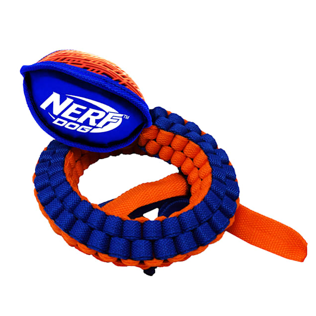 Nerf Thermoplastic Rubber Nylon Force Grip Vortex Chain Tug for Dogs, Medium - Carousel image #1