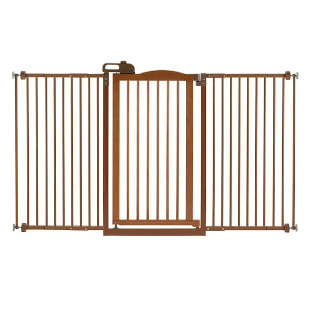 """Richell Tall One-Touch Brown Pet Gate II Wide, 62.8"""" x 38.4"""" x 2"""" - Carousel image #1"""
