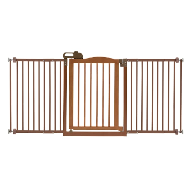 "Richell One-Touch Brown Pet Gate II Wide, 62.8"" x 30.5"" x 2"" - Carousel image #1"