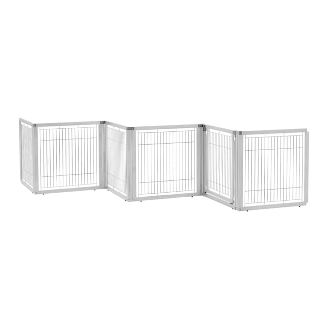 "Richell Convertible Elite White Pet Gate 6 Panel, 135.8"" x 31.5"" x 29.1"" - Carousel image #1"