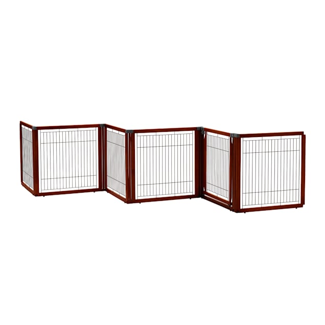 """Richell Convertible Elite Pet Gate 6-Panel in Cherry Brown, 135.8"""" L X 29.1"""" W X 31.5"""" H - Carousel image #1"""