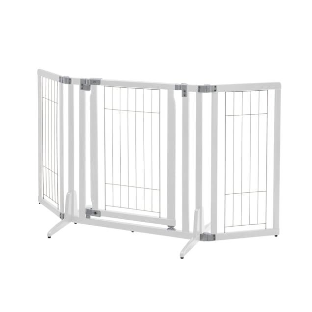 "Richell Premium Plus Freestanding White Pet Gate, 63"" x 32"" x 26"" - Carousel image #1"