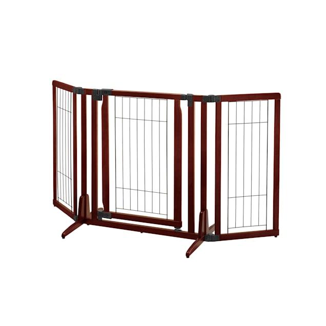 "Richell Premium Plus Freestanding Brown Pet Gate, 63"" x 32"" x 26"" - Carousel image #1"