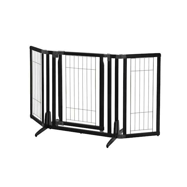 "Richell Premium Plus Freestanding Black Pet Gate, 63"" x 32"" x 26"" - Carousel image #1"