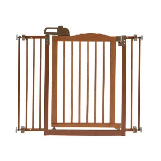 """Richell One-Touch Brown Pet Gate II, 36.4"""" x 30.5"""" x 2"""" - Carousel image #1"""