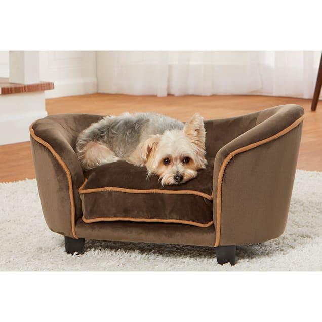 "Enchanted Home Pet Ultra Plush Snuggle Mink Brown Sofa for Dog, 26.75"" L X 14.75"" W - Carousel image #1"