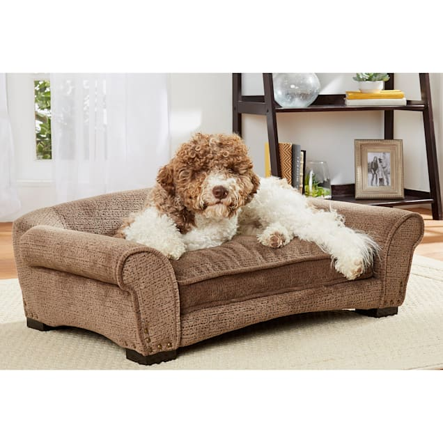 """Enchanted Home Pet Harper Arch Brown Sofa with Puzzle Print for Dog, 35"""" L X 21"""" W - Carousel image #1"""