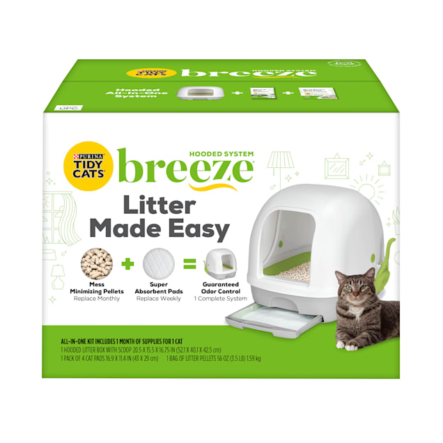 Tidy Cats Breeze Hooded Litter Box System Starter Kit With Pellets & Pads - Carousel image #1