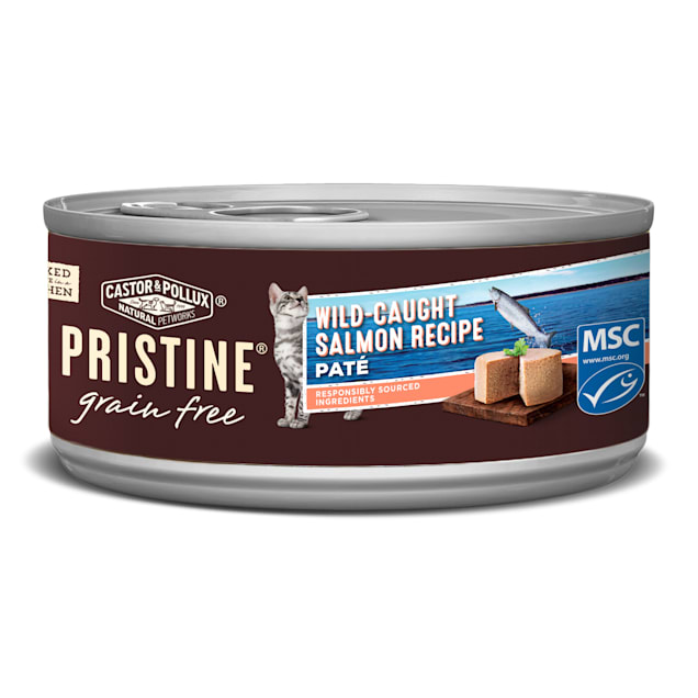 Castor & Pollux Pristine Grain Free Wild-Caught Salmon Pate Recipe Canned Wet Cat Food, 5.5oz., Case of 24 - Carousel image #1