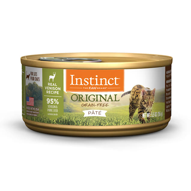 Instinct Original Grain-Free Pate Real Venison Recipe Wet Cat Food, 5.5 oz., Case of 12 - Carousel image #1