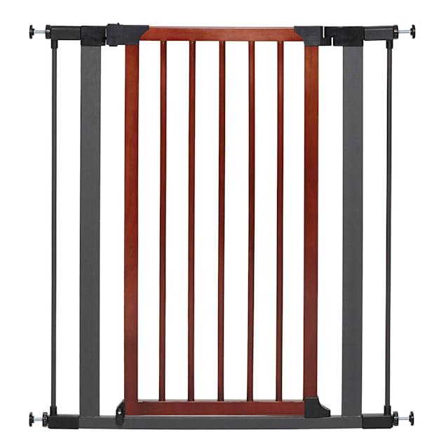 "Midwest WalkThru Steel Pet Gate with Textured Graphite Frame & Decorative Wood Door, 39""H - Carousel image #1"