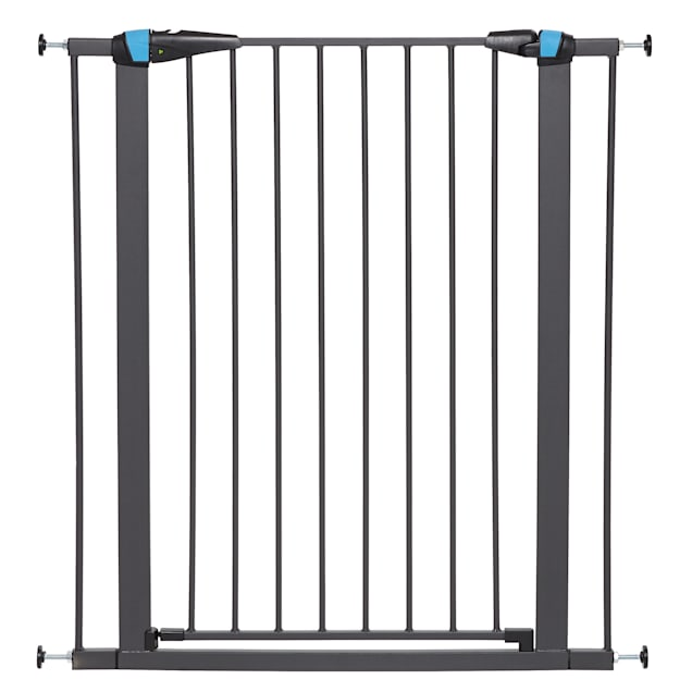 """Midwest WalkThru Steel Pet Gate with Safety Glow Framed for Dogs in Graphite, 39""""H - Carousel image #1"""