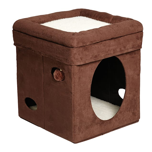 """Midwest Curious Suede Cat Cube, 16.5"""" H - Carousel image #1"""