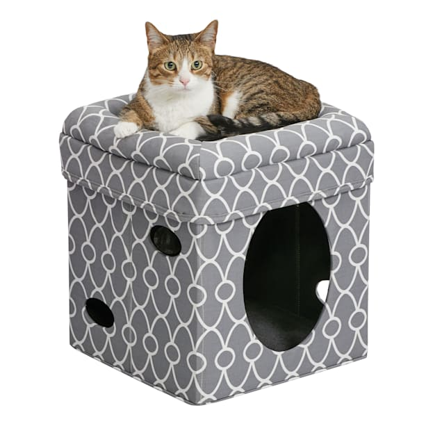 """Midwest Curious Cat Cube in Gray, 16.5"""" H - Carousel image #1"""