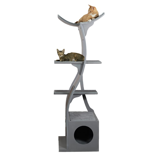 "The Refined Feline Lotus Tower Cat Tree in Smoke, 69"" H - Carousel image #1"