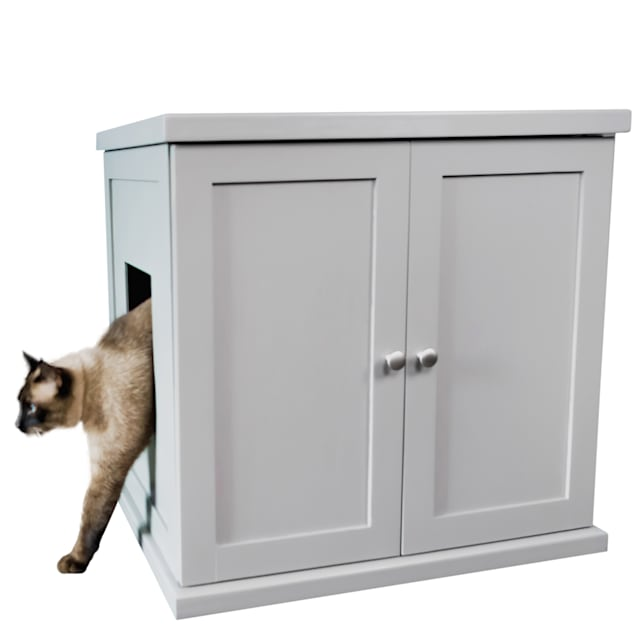 "The Refined Feline Litter Box in Smoke, 26.75"" H - Carousel image #1"