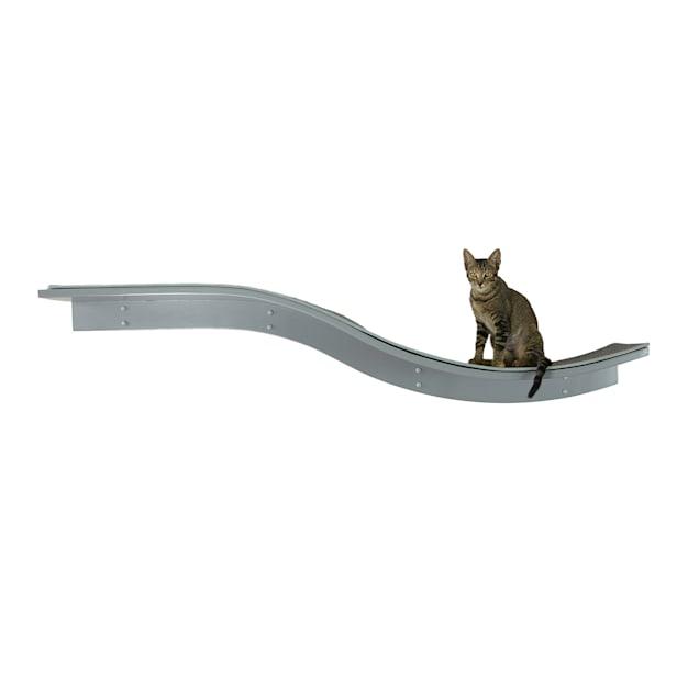 "The Refined Feline Lotus Branch Cat Shelf in Smoke, 12"" H - Carousel image #1"
