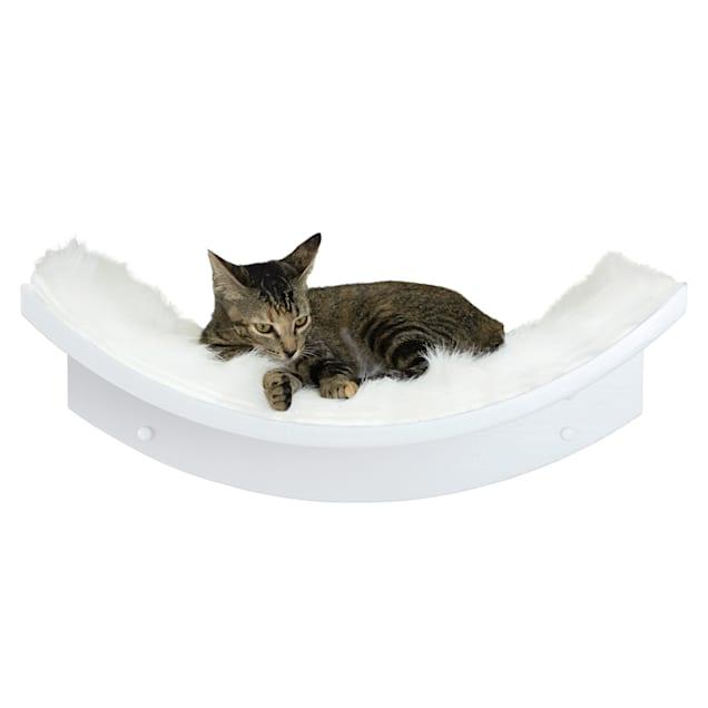 "The Refined Feline Lotus Leaf Cat Shelf in White, 9"" H - Carousel image #1"