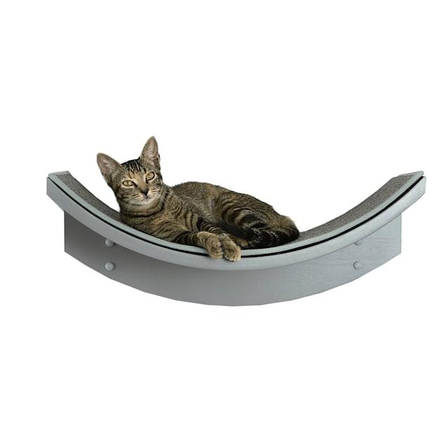 "The Refined Feline Lotus Leaf Cat Shelf in Smoke, 9"" H - Carousel image #1"