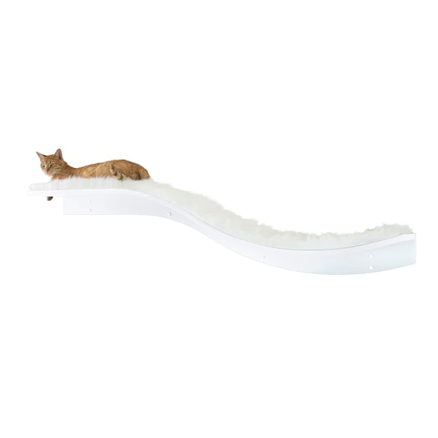 "The Refined Feline Lotus Branch Cat Shelf in White, 12"" H - Carousel image #1"
