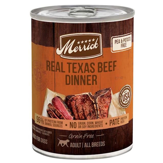 Merrick Grain Free Real Texas Beef Dinner Wet Dog Food, 12.7 oz., Case of 12 - Carousel image #1