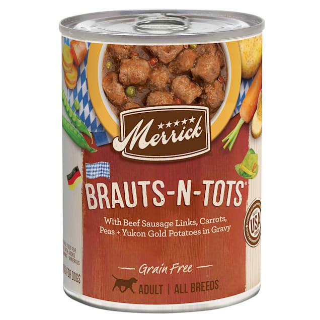 Merrick Grain Free Brauts-n-Tots Wet Dog Food, 12.7 oz., Case of 12 - Carousel image #1