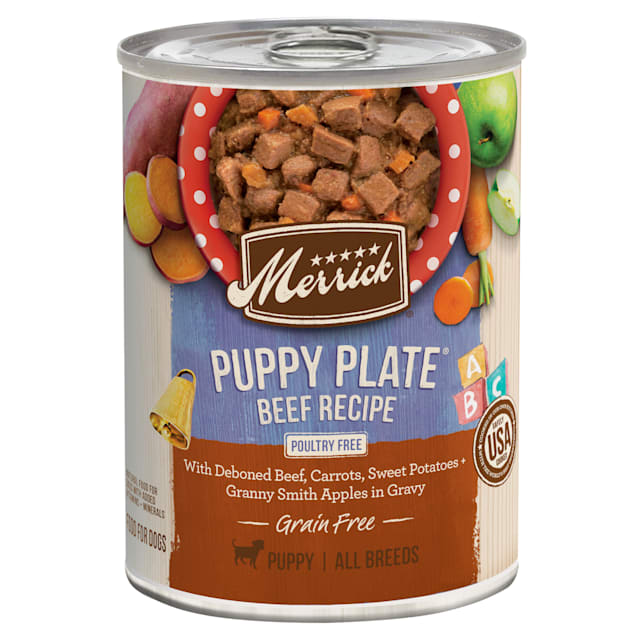 Merrick Grain Free Puppy Plate Beef Wet Puppy Food, 12.7 oz., Case of 12 - Carousel image #1