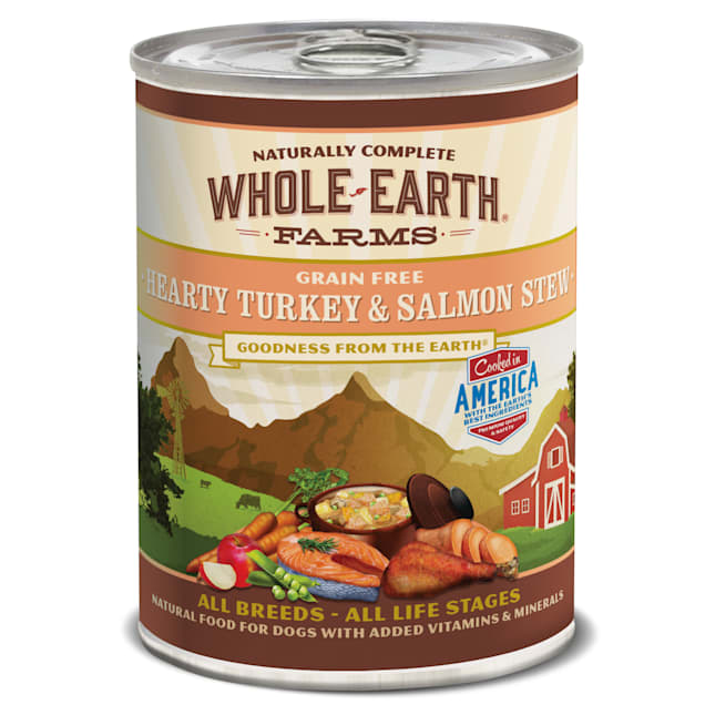 Whole Earth Farms Hearty Turkey and Salmon Stew Wet Dog Food, 12.7 oz. - Carousel image #1