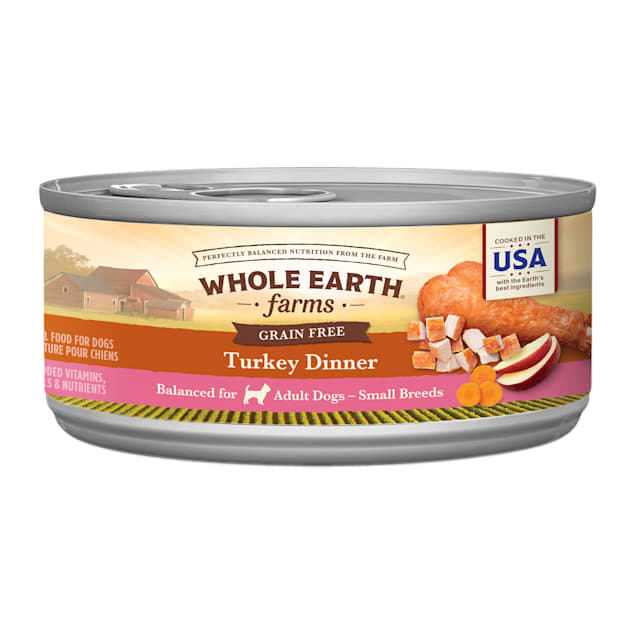 Whole Earth Farms Grain Free Small Breed Turkey Dinner Wet Dog Food, 3 oz., Case of 24 - Carousel image #1