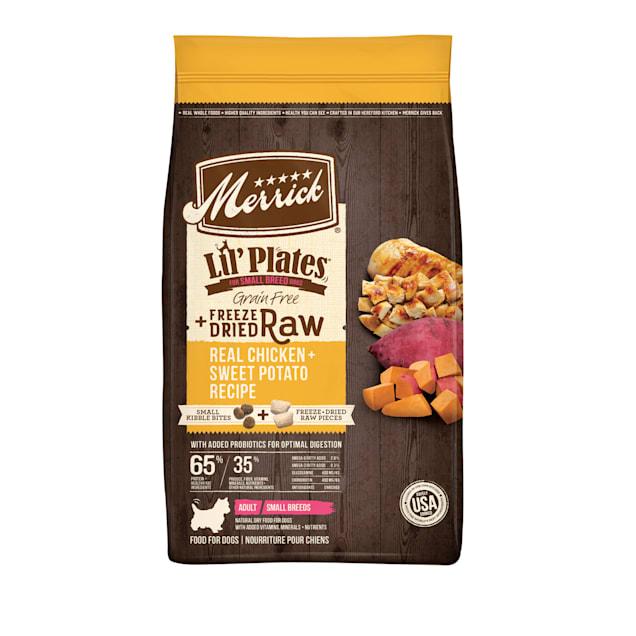 Merrick Lil' Plates Grain Free Real Chicken, Sweet Potatoes + Peas Recipe with Raw Bites Dry Dog Food, 10 lbs. - Carousel image #1