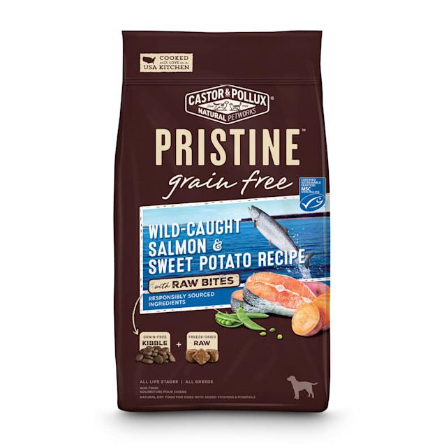 Castor & Pollux Pristine Grain Free Wild-Caught Salmon & Sweet Potato Recipe with Raw Bites Dry Dog Food, 4 lbs. - Carousel image #1