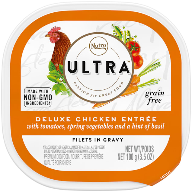 Nutro Ultra Grain Free Filets in Gravy Deluxe Chicken With Tomatoes, Vegetables & Basil Adult Wet Dog Food, 3.5 oz., Case of 24 - Carousel image #1
