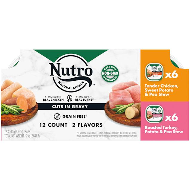Nutro Grain Free Variety Pack Tender Chicken, Sweet Potato, Pea Stew & Roasted Turkey Wet Dog Food, 3.5 oz., Count of 12 - Carousel image #1
