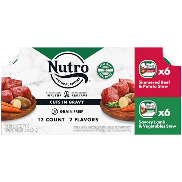 Nutro Cuts In Gravy Simmered Beef & Potato, Savory Lamb & Vegetable Stew Variety Pack Adult Wet Dog Food, 3.5 oz., Count of 12 - Carousel image #1