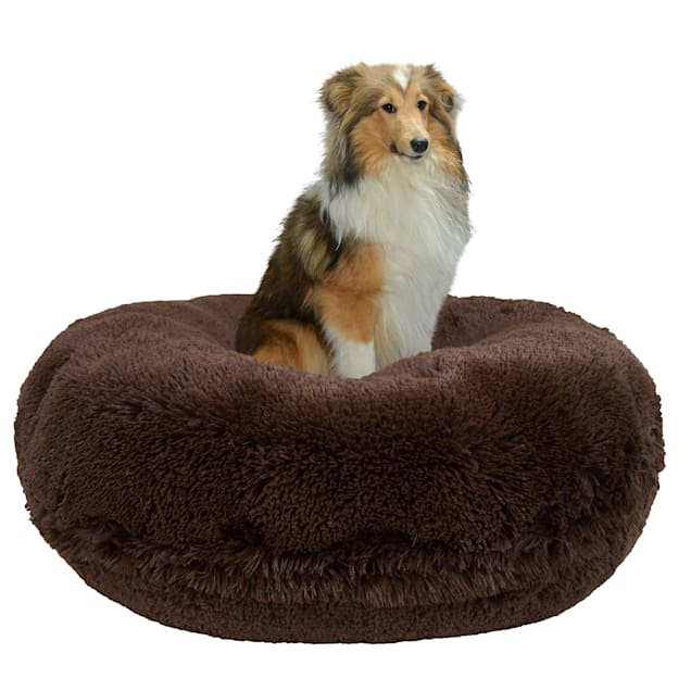 """Bessie & Barnie Extra Plush Faux Fur Gizzly Bear Bagel Pet Dog Bed, 42"""" x 42"""" - Carousel image #1"""